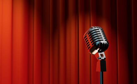 3d retro microphone sur fond rouge royal rideau Banque d'images - 30657245