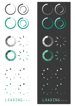 Vector illustration of loading icons on white and grey background  illustration
