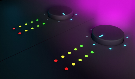 fader: 3d closeup of knobs, dj mixer equipment, with pink light on the background