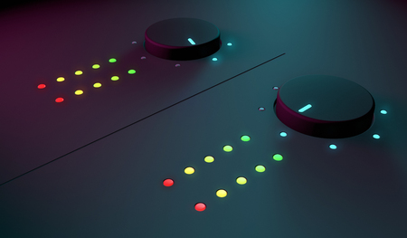3d closeup of dj musical equipment, with soft blue light on the background