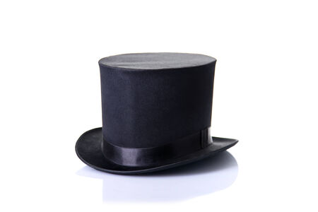 Black classic top hat, isolated on white background with soft reflection  Foto de archivo
