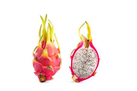 two and a half: Two dragon fruits, whole and a half, isolated on white background