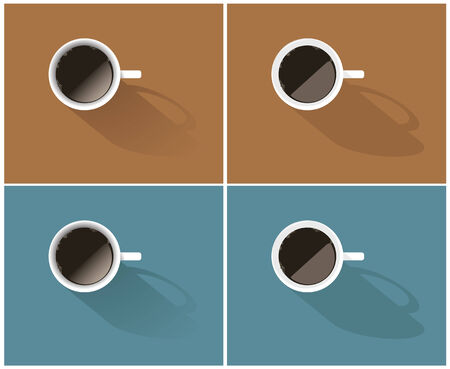 high angle view: Vector set of simple coffee icons in beige and blue colors Illustration