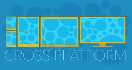 Vector concept of cross platform with mobile phone, tablet pc, laptop and pc Vector