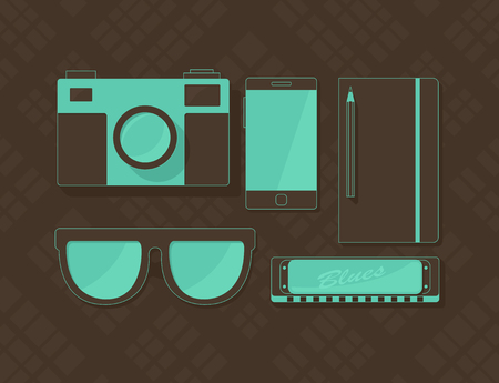 harmonica: Vector objects in hipster style, retro camera, sunglasses, phone, notebook, and harmonica