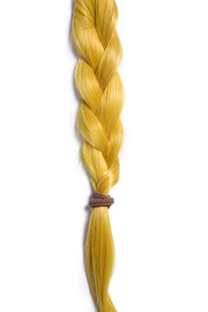 braided hair: Golden blond hair braided in pigtail, isolated on white background