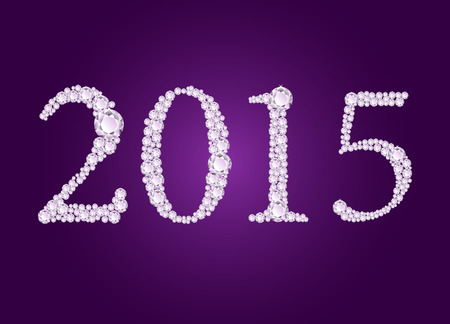 deep purple: Vector diamond 2015 text on deep purple background
