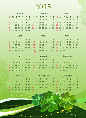 Vector illustration of American 2015 calendar for St. Patrick's Day, starting from Sundays
