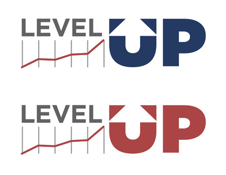 illustration of level up text in different colors