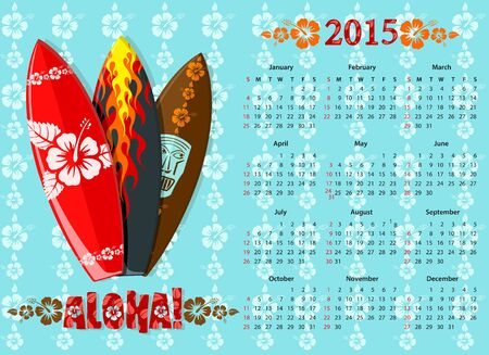 American blue Aloha calendar 2015 with surf boards, starting from Sundays Vector
