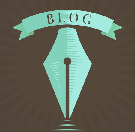 fountain pen icon, blog symbol in engraved style in vintage brown and blue colors Vector