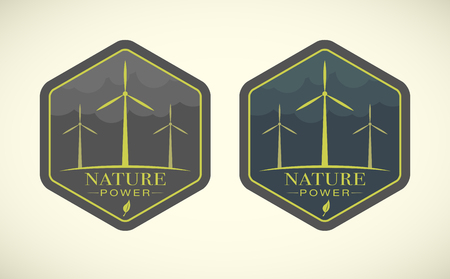 wind turbines: illustration of eco icons with wind turbines Illustration