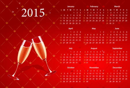 sundays: American calendar 2015 with champagne, starting from Sundays Illustration