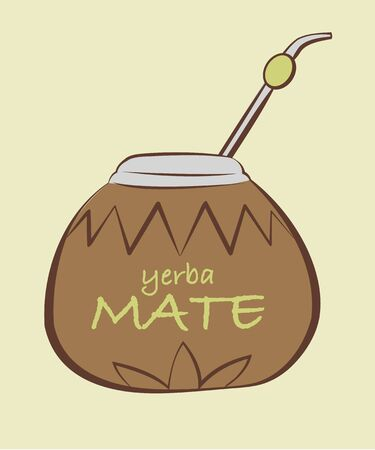mate drink: illustration of yerba Mate, Calabash with Bombilla in tribal style Illustration