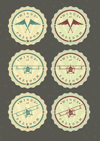 Vector set of aviator icons, wings and biplanes Illustration
