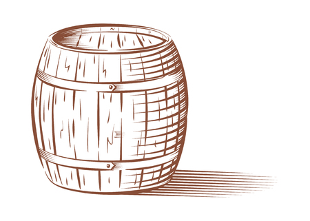 cask: Vector engraved beer or wine barrel, isolated on white background