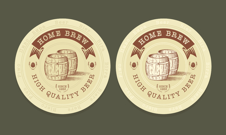 brewery  hops: Vector engraved illustration of beer tags