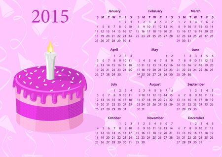sundays: American Vector calendar 2015 with cake, starting from Sundays Illustration