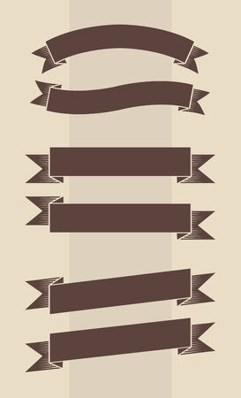 Vector set of vintage engraved banners in brown and beige colors Vector