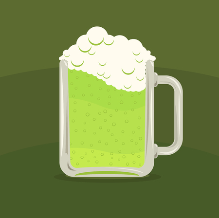 Vector illustration of green beer mug over green background, St. Patricks Day Vector