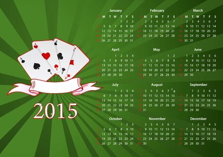 sundays: Vector American calendar 2015 starting from Sundays with cards over green background