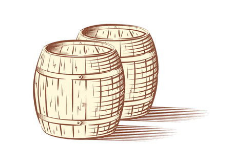 Vector illustration of beer or wine barrels, isolated on white background Vector