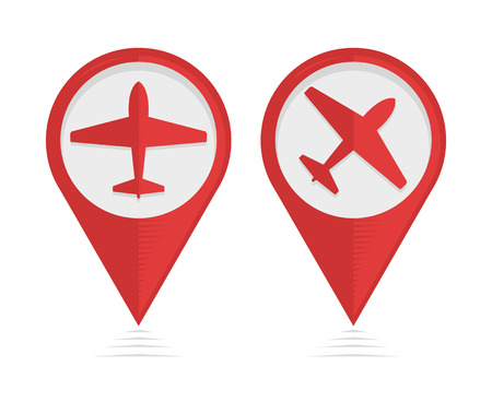 travel symbol: Vector pointers with airplane, travel symbol Illustration