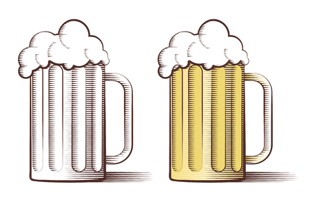 Vector illustration of two beer glasses in engraved style Vector