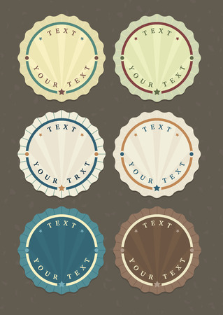 round logo: Vector set of vintage round labels with copy-space for your text Illustration