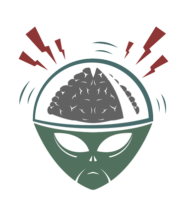 invade: Vector illustration of evil alien mega brain invader