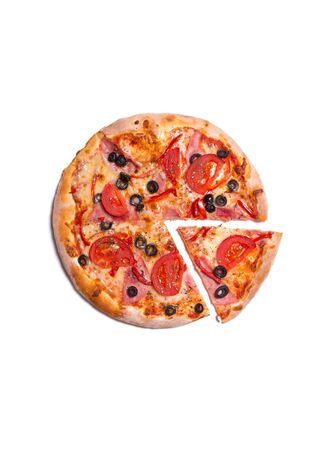 Top view of delicious pizza with ham, tomatoes, and olives, isolated on white background photo