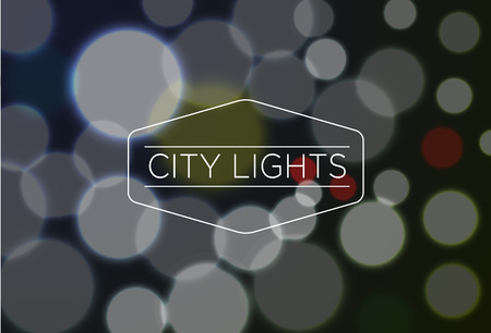 city lights: Vector illustration of City Lights word over blurred bokeh background