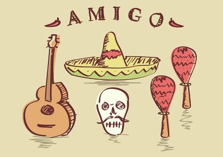 Vector illustration of hand drawn Mexican objects set, sombrero, sugar skull, guitar and maracas Vector