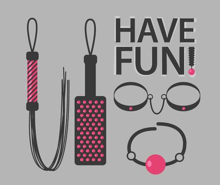 Vector illustratie van BDSM speelgoed met tekst Have Fun