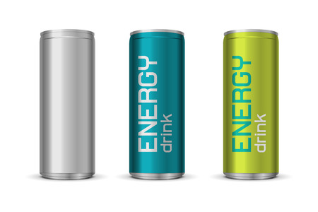 lata de refresco: Vector ilustración de latas de bebidas energéticas en diferentes colores, aislados en fondo blanco Vectores