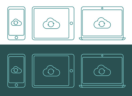 global settings: Vector illustration of linear style cloud computing icons, inverted colors