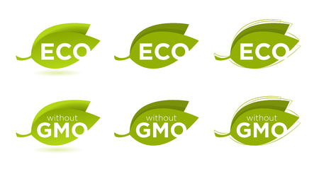 Vector set of leaves with Eco text, concept of healthy food Vector