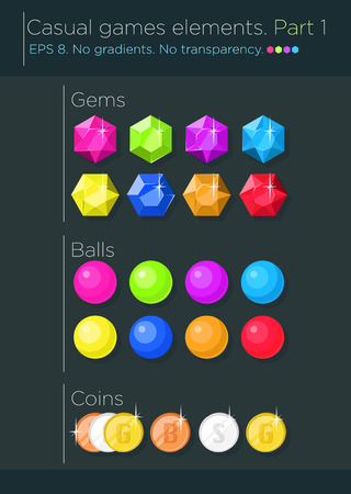 Vector set of casual games elements, gems, balls and coins Vector