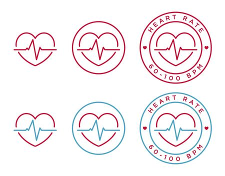 heart ecg trace: Vector heart rate icons in linear style