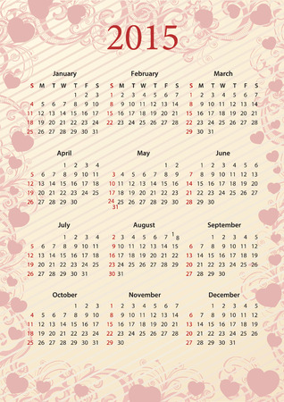 sundays: American Vector pink floral calendar 2015 with hearts, starting from Sundays