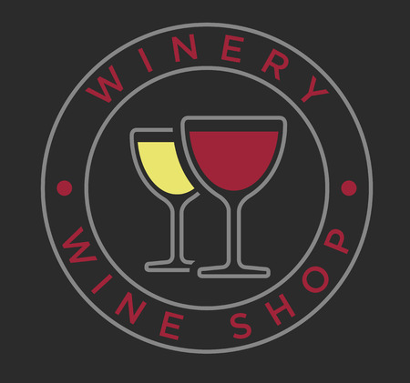 winery: Vector linear style red and white wine glasses for winery label