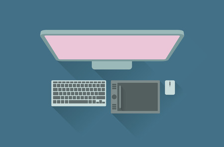 digitizer: Vector illustration of working table with display, keyboard, and mouse