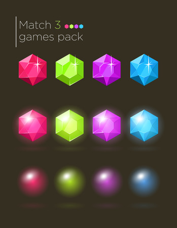 assets: Vector set of colorful gems for casual match3 games