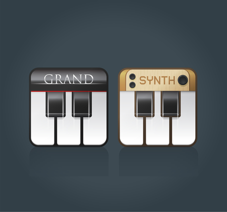 piano: Vector piano icons for music software, grand piano and synthesizer, eps10