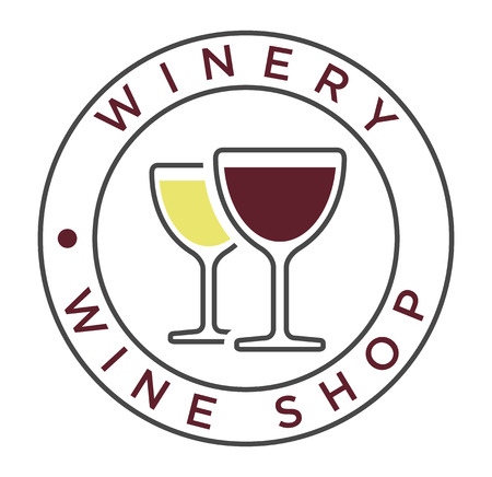 winery: Vector simple linear style icon with glasses of white and red wine for winery label