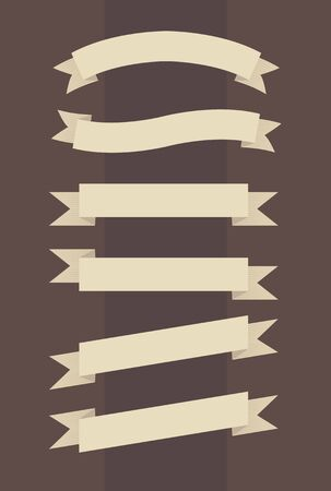 Vector set of vintage banners in engraved style on brown background Vector