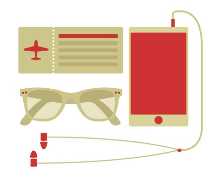 airplane cartoon: Vector summer travel set of smart phone, airplane ticket, and sunglasses in hipster style