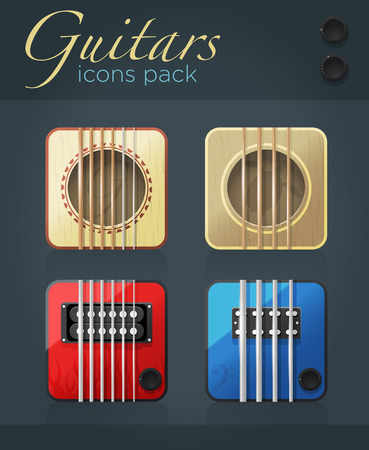 Vector set of guitar icons for music software, acoustic and electric musical instruments, eps10 Vector