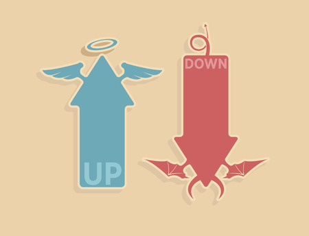 diabolic: Vector up and down arrows for heaven and hell concept