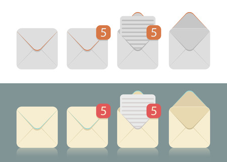 inbox: Vector set of envelopes icons for e-mail, inbox, notifications symbols Illustration